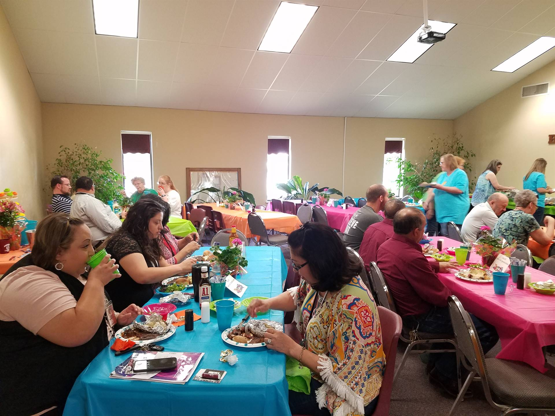 Teachers eating lunch for teacher appreciation